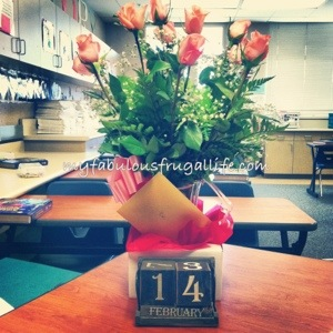 Lovely roses delivered to my classroom, from my husband.