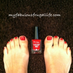 Gave myself a pedi with Rimmel Stiletto Red