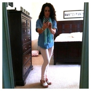 Chambray shirt with pink skinny jeans outfit of the day