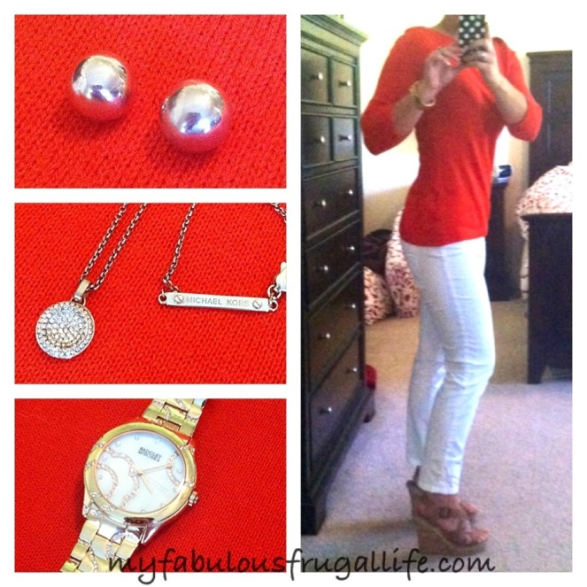 ootd orange and white with rose gold accessories