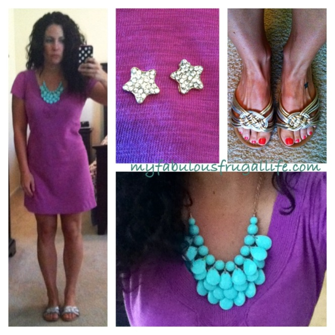 ootd summer day dress purple, gold, turquoise