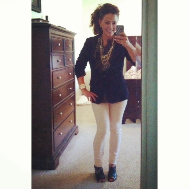 teacher clothes | teacher outfit | ootd | look for less | leopard | lace blazer | skinny jeans | peep toe booties