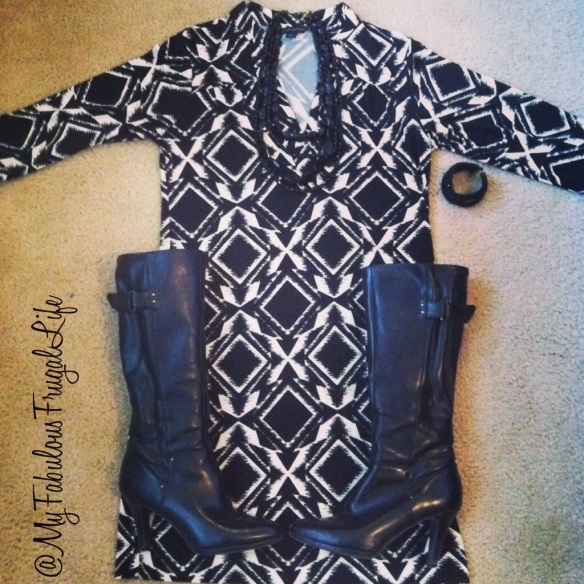 What I wore | teacher clothes | ootd | black and white geometric print dress | knee high boots | look for less | budget style